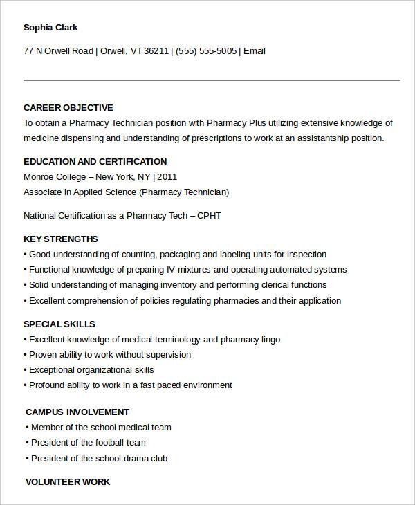 10 Pharmacy Technician Resume Templates  PDF DOC  Free  Premium Templates