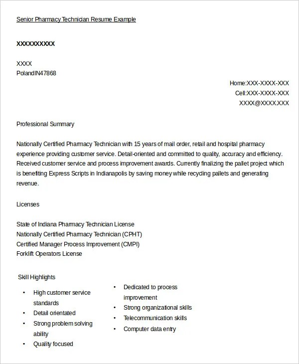 Pharmacy Technician Resume Example 9 Free Word PDF Documents