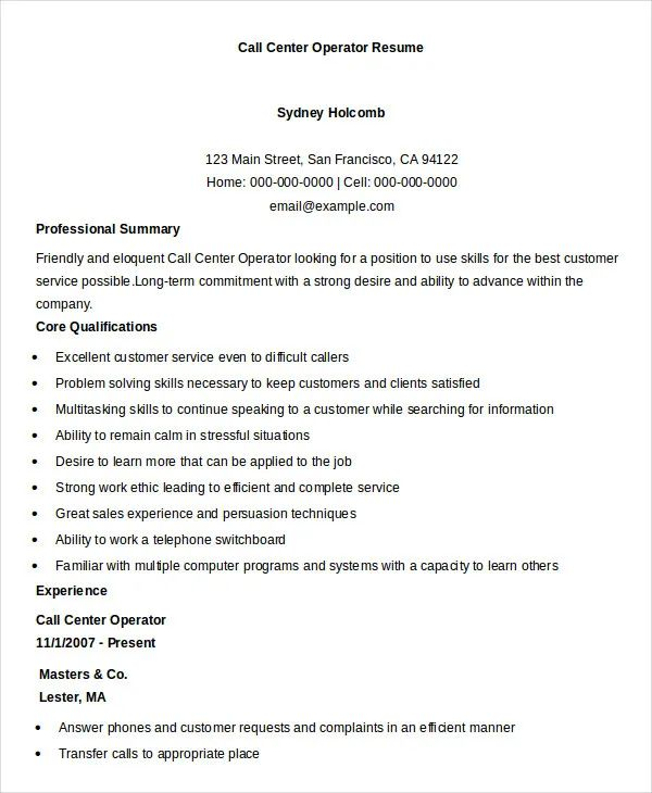 resume word examples free