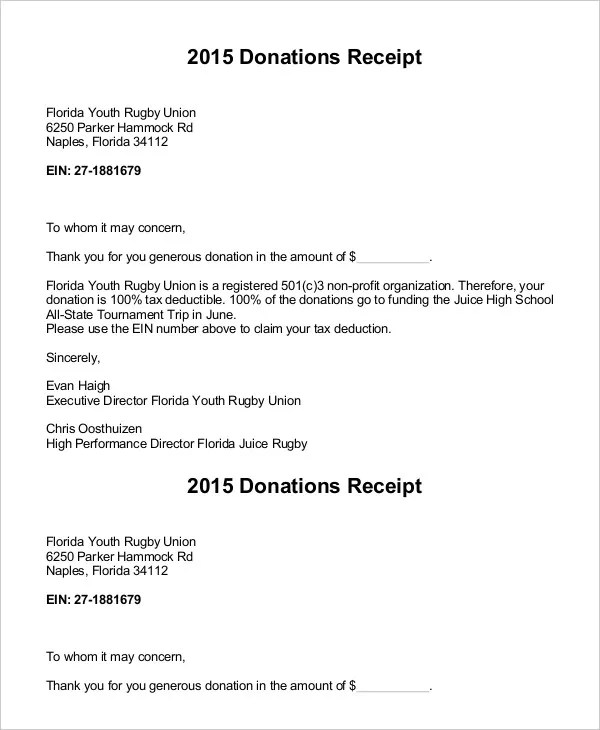 thank you donation letter receipt