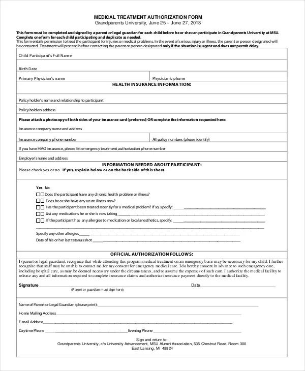 child medical consent form for grandparents