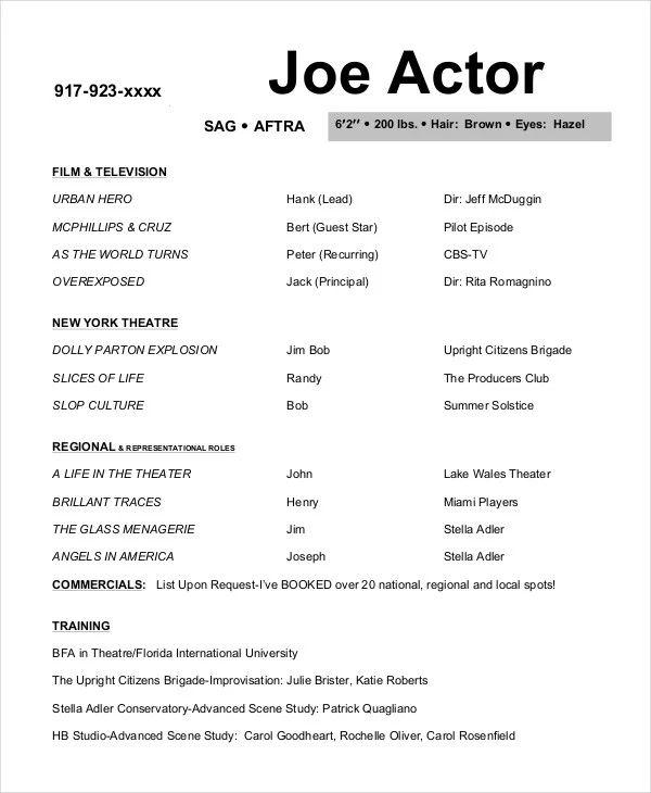 tv film resume template