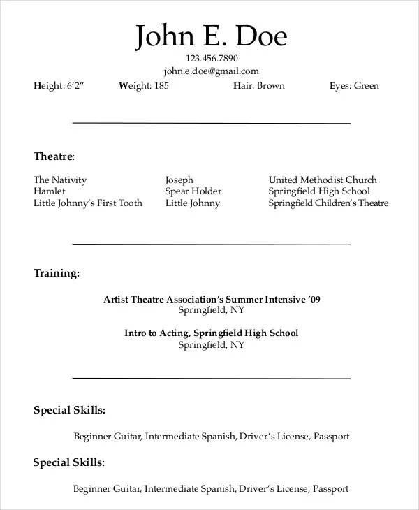 Actor Resume Example 7 Free Word PDF Documents Download Free