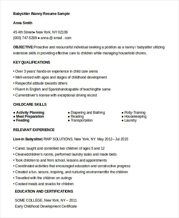 10 Nanny Resume Templates  PDF DOC  Free  Premium Templates