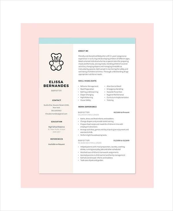 10 Nanny Resume Templates PDF DOC Free & Premium