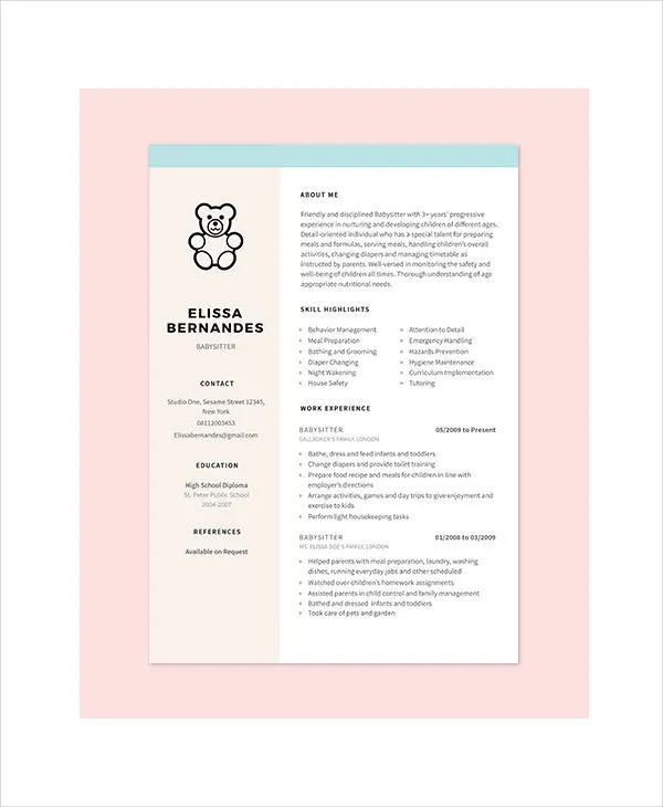 nanny resume experience examples