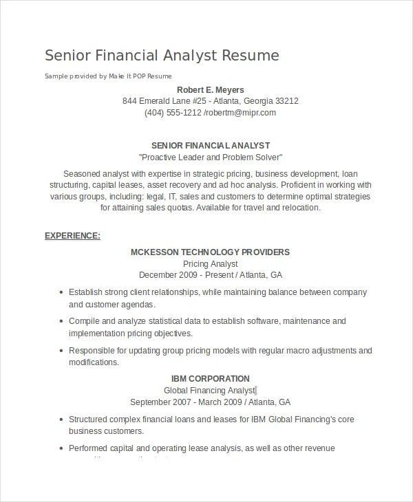 junior financial analyst resumes