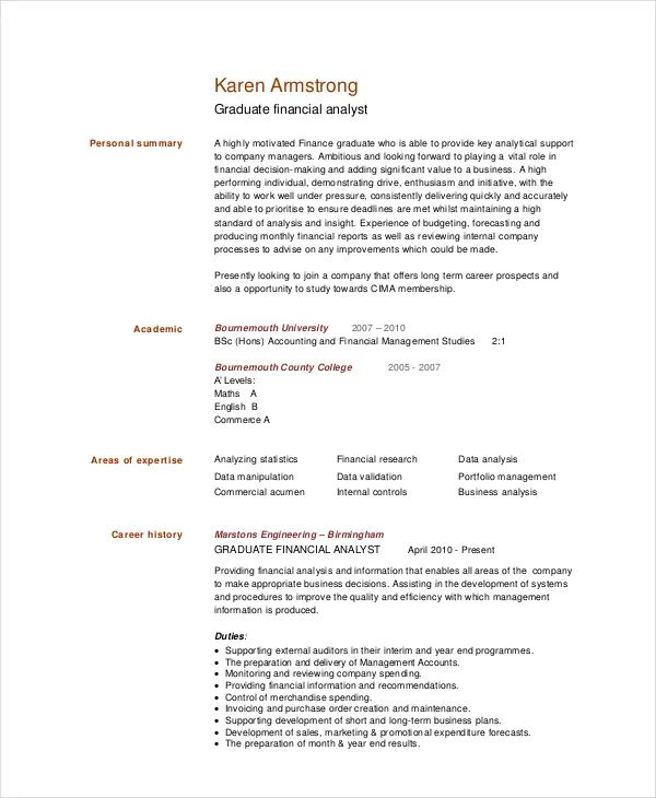 investment analyst resumes