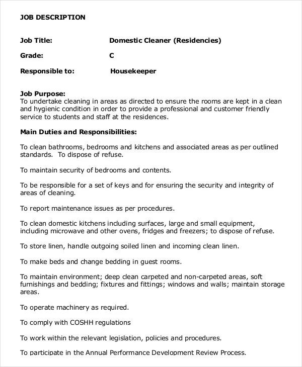 Housekeeper Job Description Example  14+ Free Word, Pdf