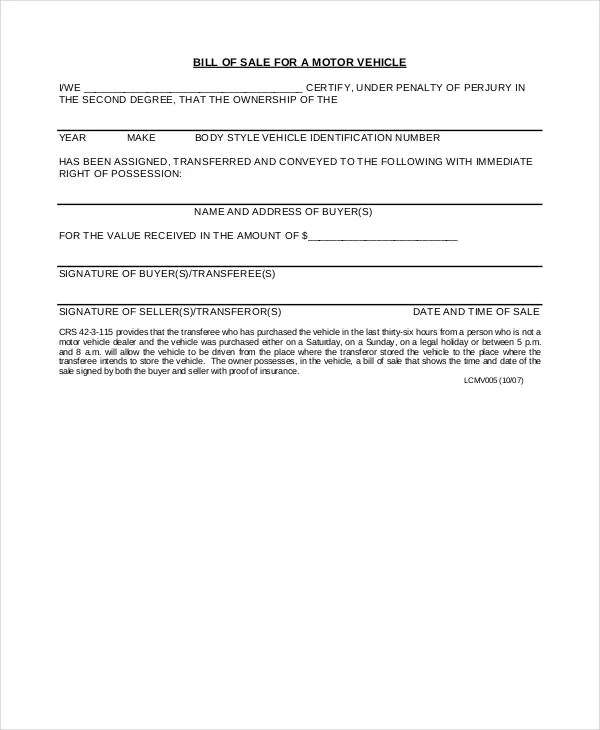 Motor Vehicle Bill Of Sale 7 Free Word PDF Documents Download Free Amp Premium Templates