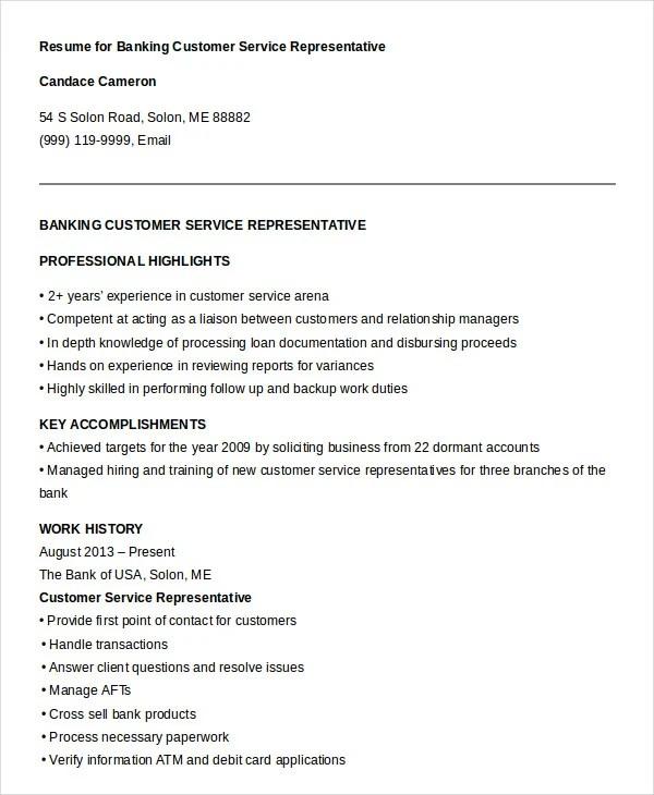 Customer Service Representative Bank Resume