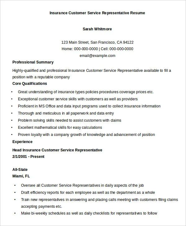 free resume templates customer service