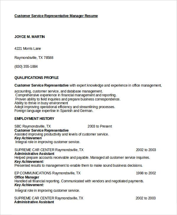 sample resume of customer service representative