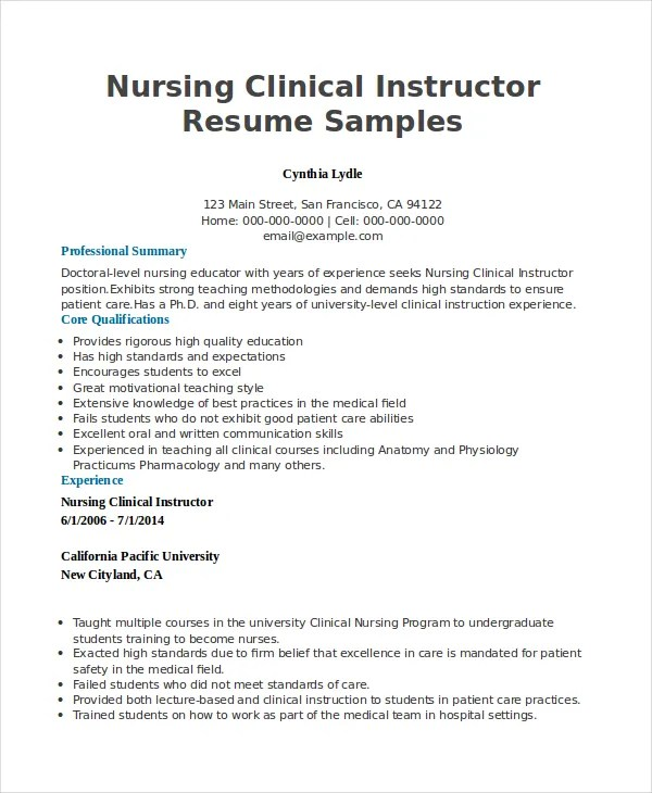 clinical instructor resume professional nursing clinical - Clinical Instructor Resume