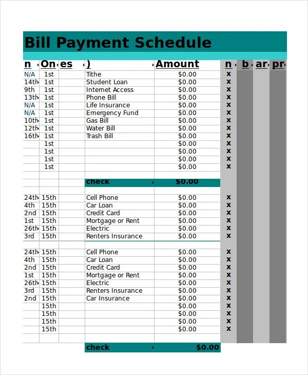 bill payment schedule template excel - April.onthemarch.co