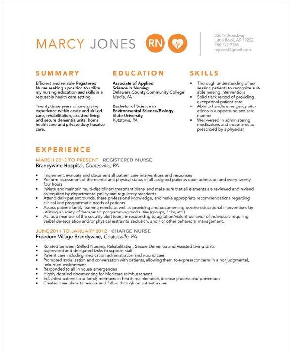 resume of nurse sample pdf