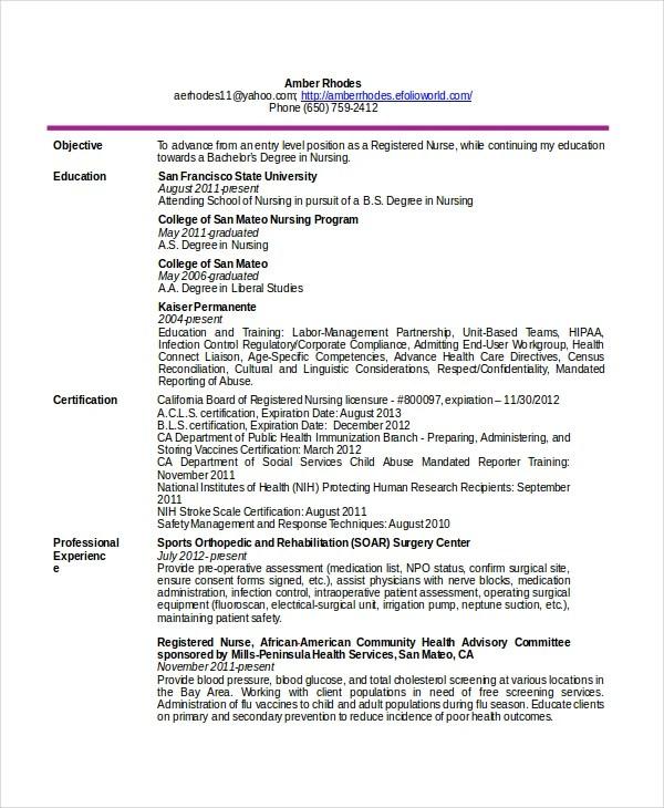 11 Nurse Resume Templates PDF DOC Free & Premium