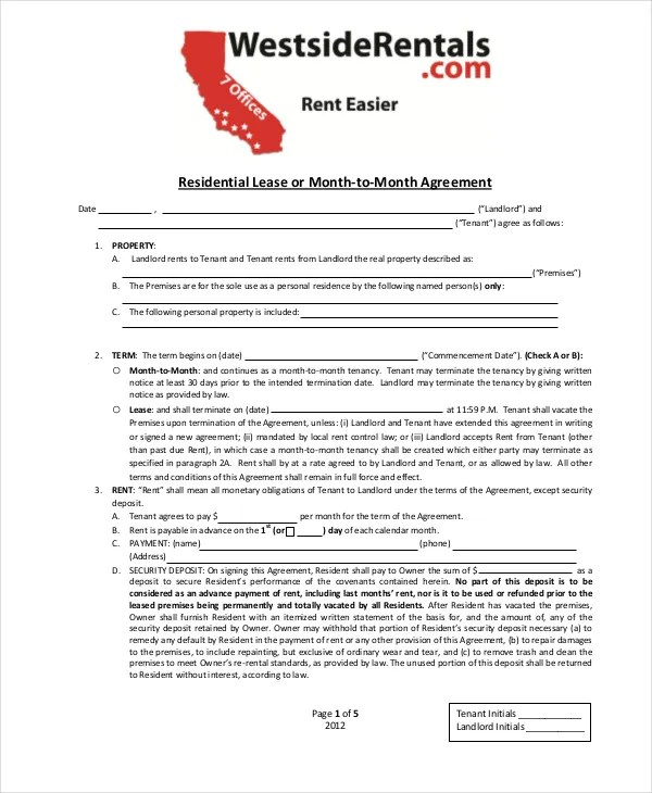 Month To Month Lease 8 Free PDF Word Download