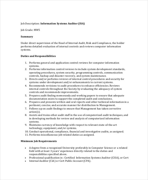 Auditor Job Description Example 11 Free PDF Documents