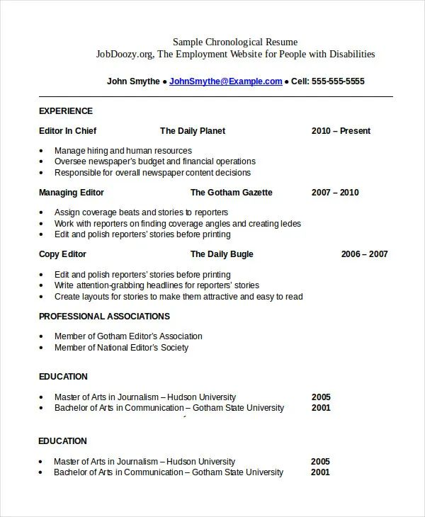 chronological resume example samples