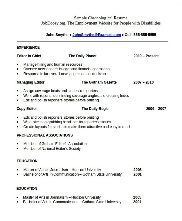 Professional Chronological Resume Template  Resume Sample