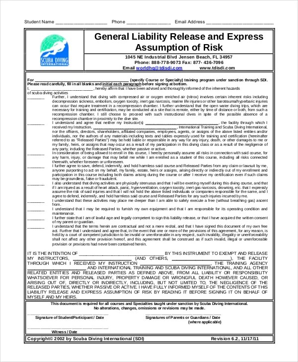 liability waiver form pdf - April.onthemarch.co