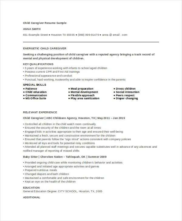 sample resume of a caregiver
