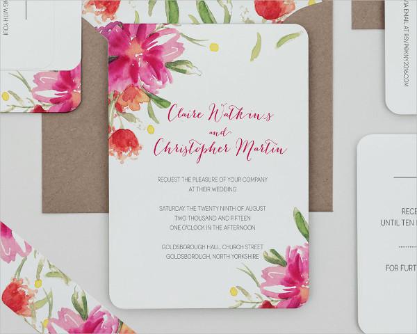 Bright Fl Wedding Invitation Template