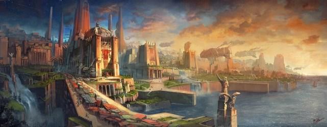 fantasy landscape deviantart concept cities landscapes flaviobolla illustration flavio bolla illustrations ancient golden port artwork artist chandrila empire template empress