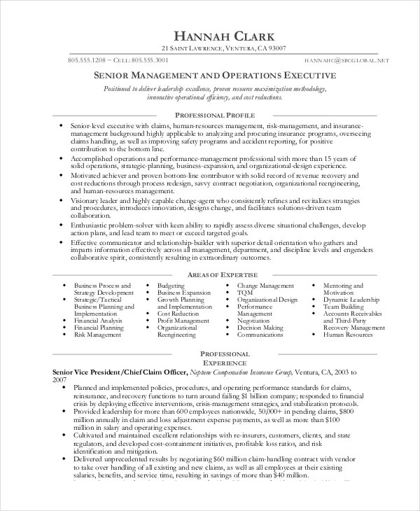 7 Operations Manager Resume Free Sample Example Format