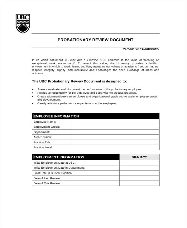 annual employee review templates