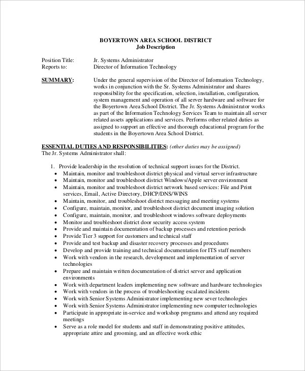 System Administrator Job Description Free Sample