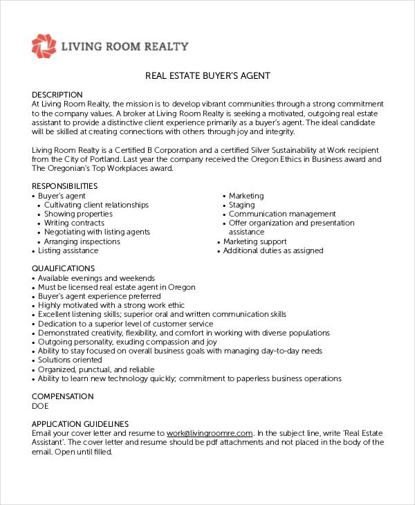6 real estate agent job descriptions free sample example - Job Descriptions For Resume