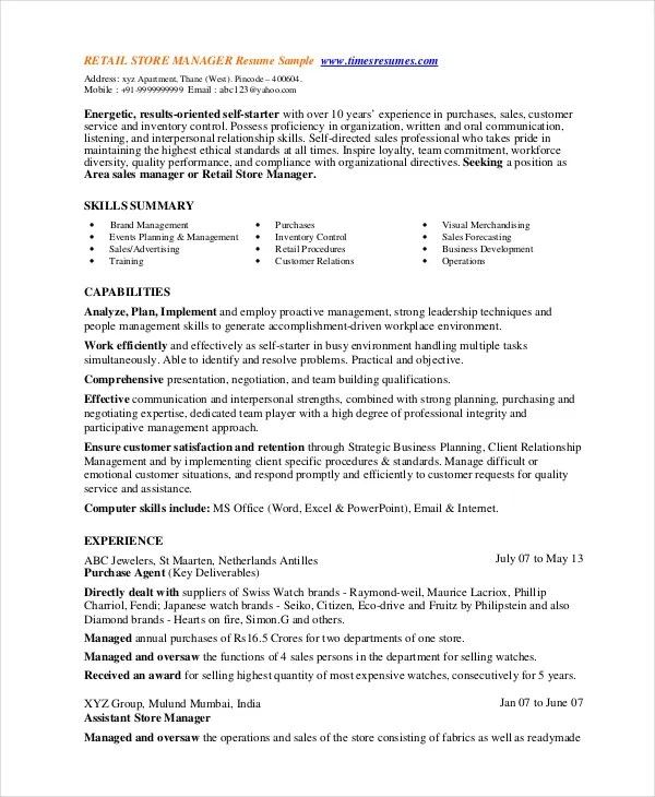 Retail Resume Template Retail Store Manager Resume Template 8