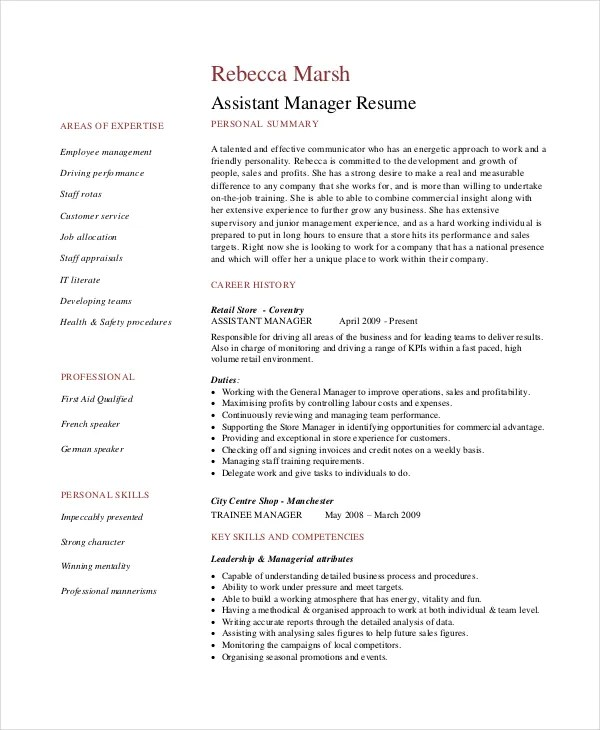 Retail Manager Resumes Retail Manager Cv Template Resume Examples