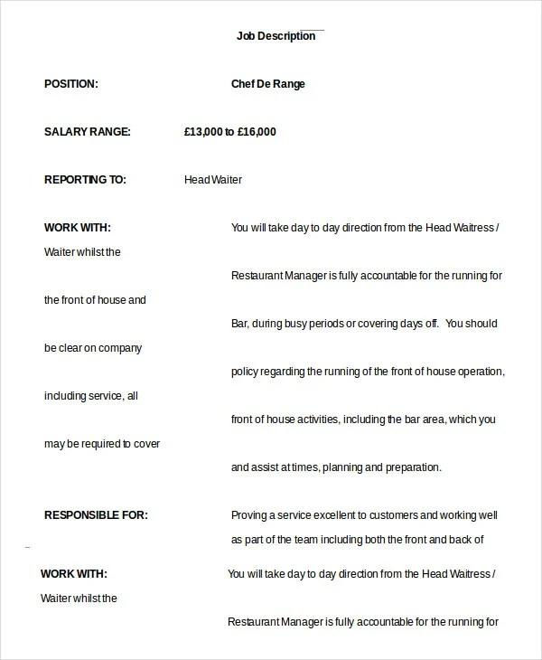 10 Waiter Job Description Templates PDF DOC Free