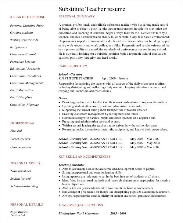 resume examples for teachers no experience examples of resumes - Substitute Teacher Resume Sample