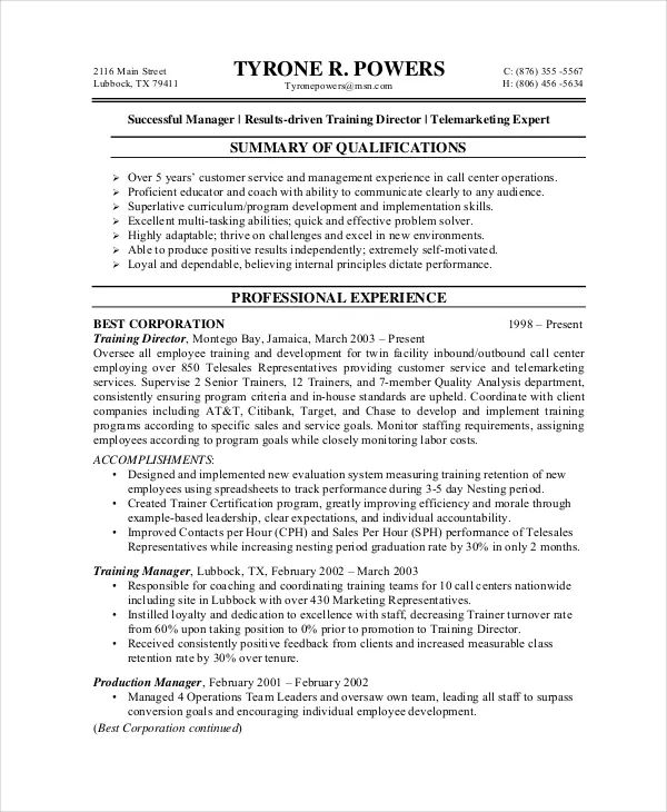 example resume for customer service manager