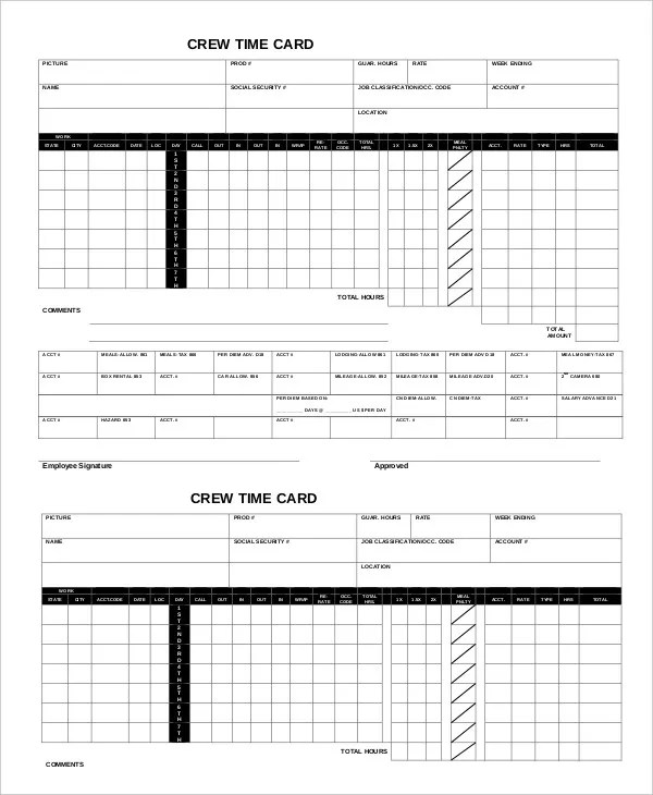 Printable Time Card Template 12 Free Word Excel PDF Documents Download Free Amp Premium