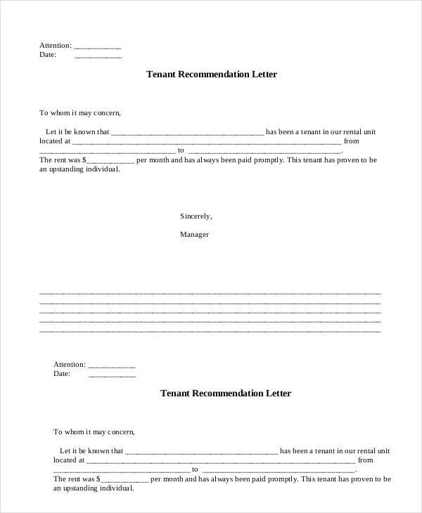 letter of recommendation for tenant