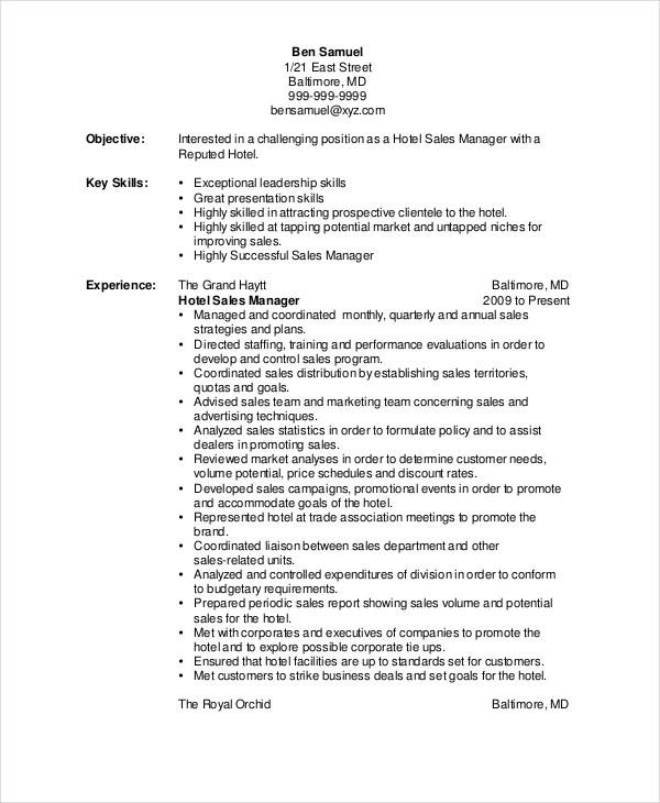 Sales Resume Example 7 Free Word PDF Documents