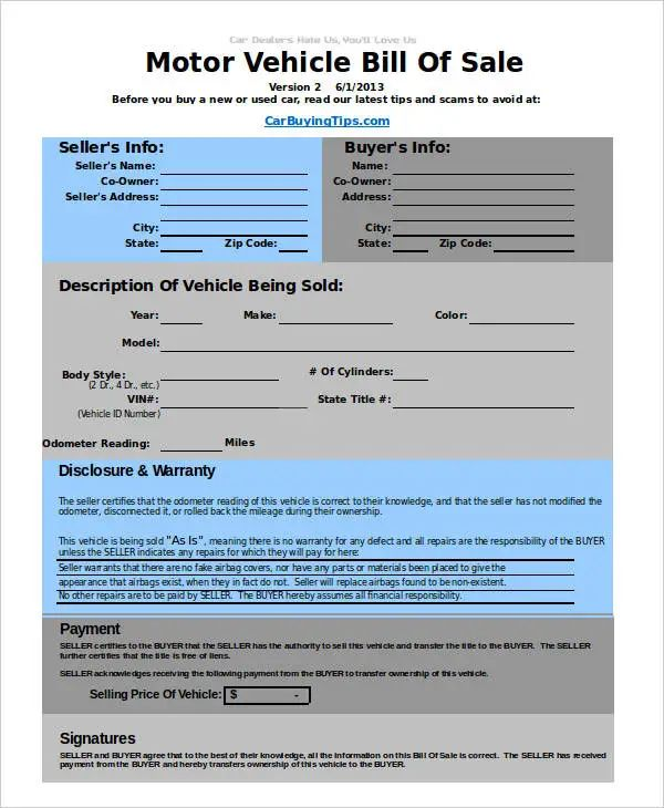 bill of sales for a car template