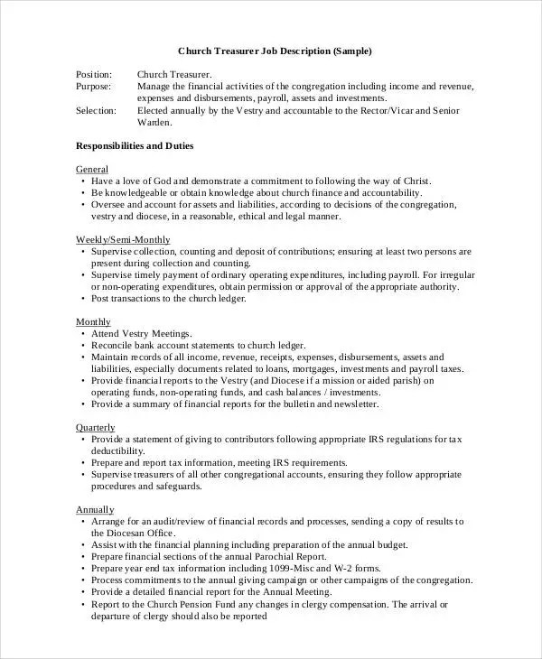 Church Job Templates Description