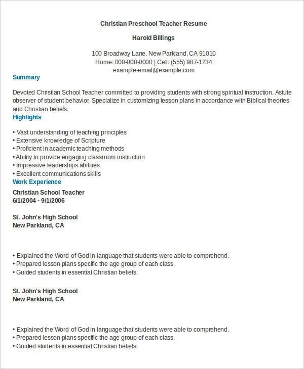 Preschool Teacher Resume 9 Free Word PDF Documents Download