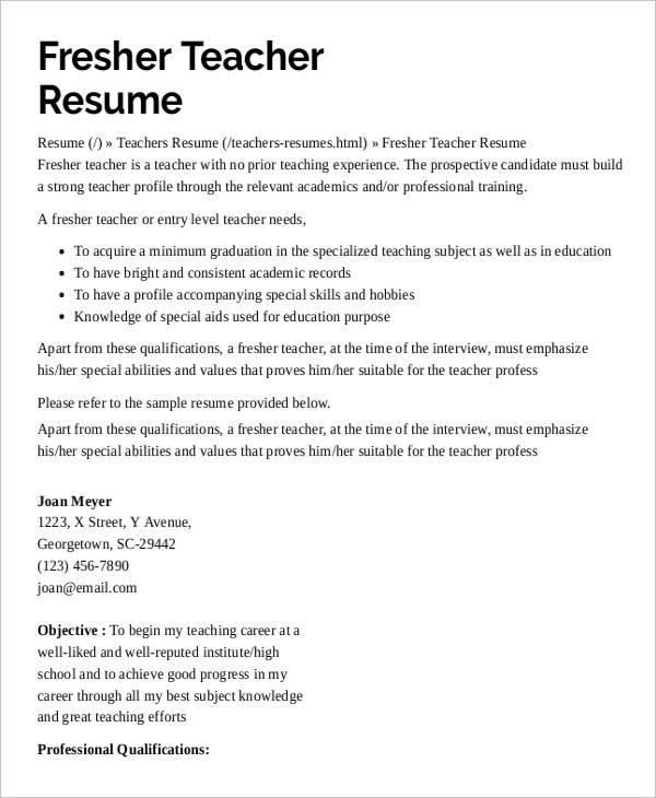 resume for preschool teacher resume sample