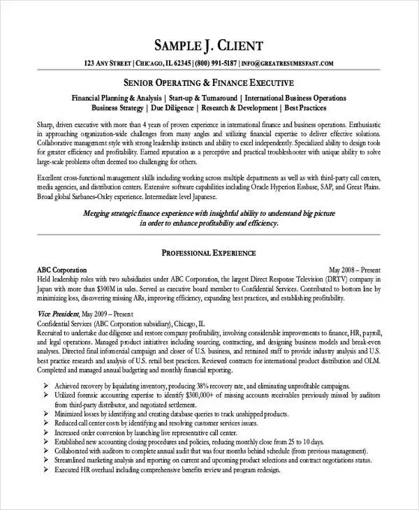 Resume Examples Finance: Finance Resume Template