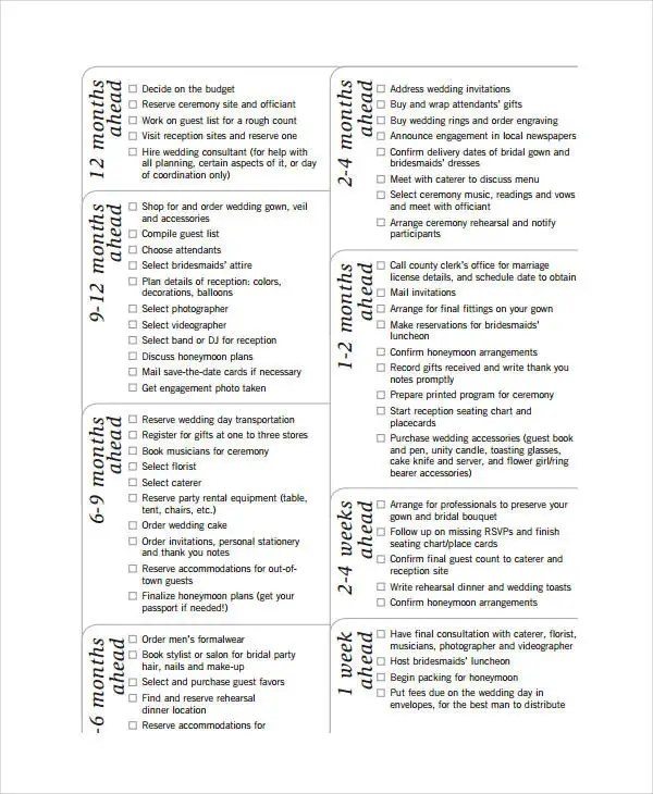 Wedding Day Checklist - 10+ Free PDF, Word Documents Download   Free ...