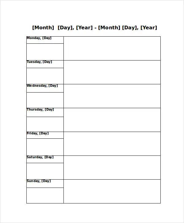 free weekly appointment calendar