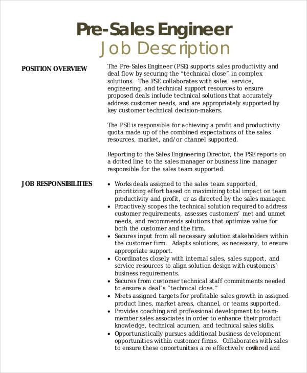 10 Sales Engineer Job Description Templates PDF DOC