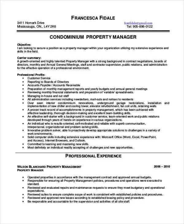 resume templates for property management